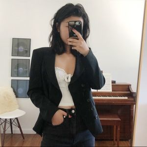 theory black double breasted blazer